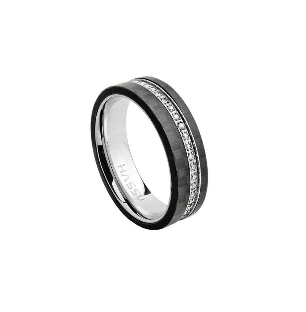 Aliança Carbono Hassu 6 mm