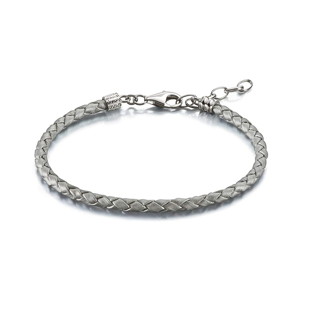 Silver Braided Leather...