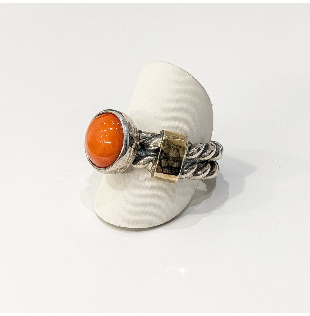 Anel Coral - Silver & Gold...