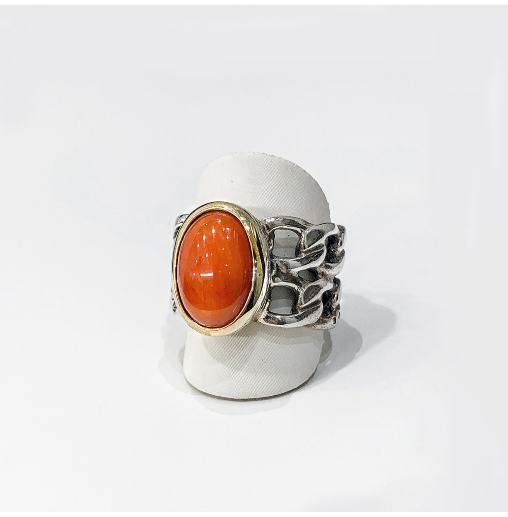 Anel Oval com Coral -...