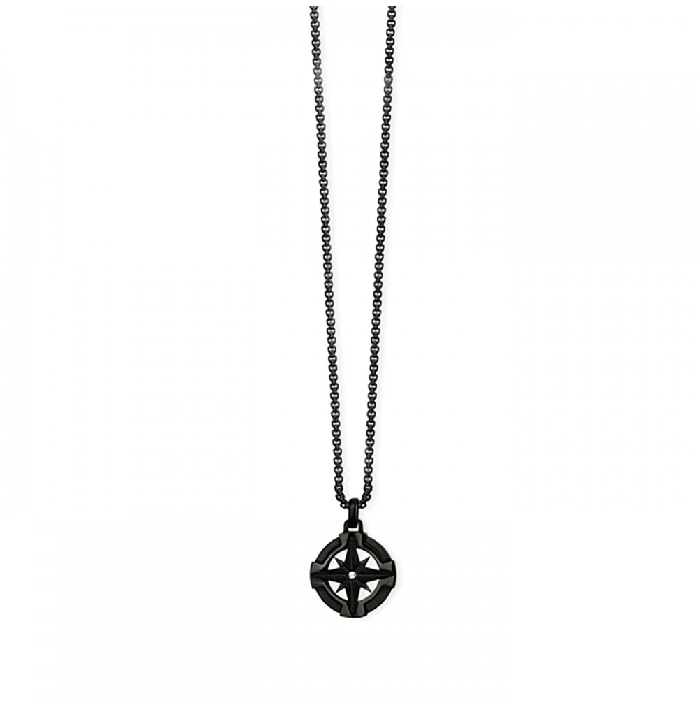 Black Wind Rose Necklace -...
