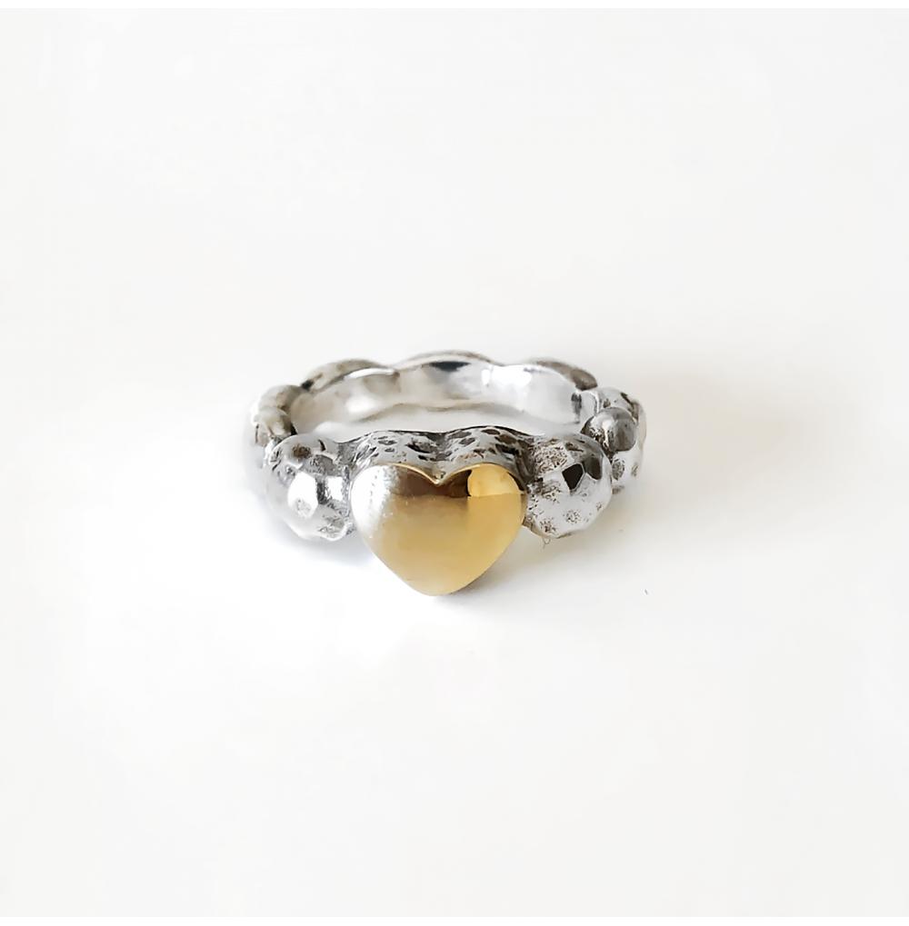 Single Heart Silver & Gold...