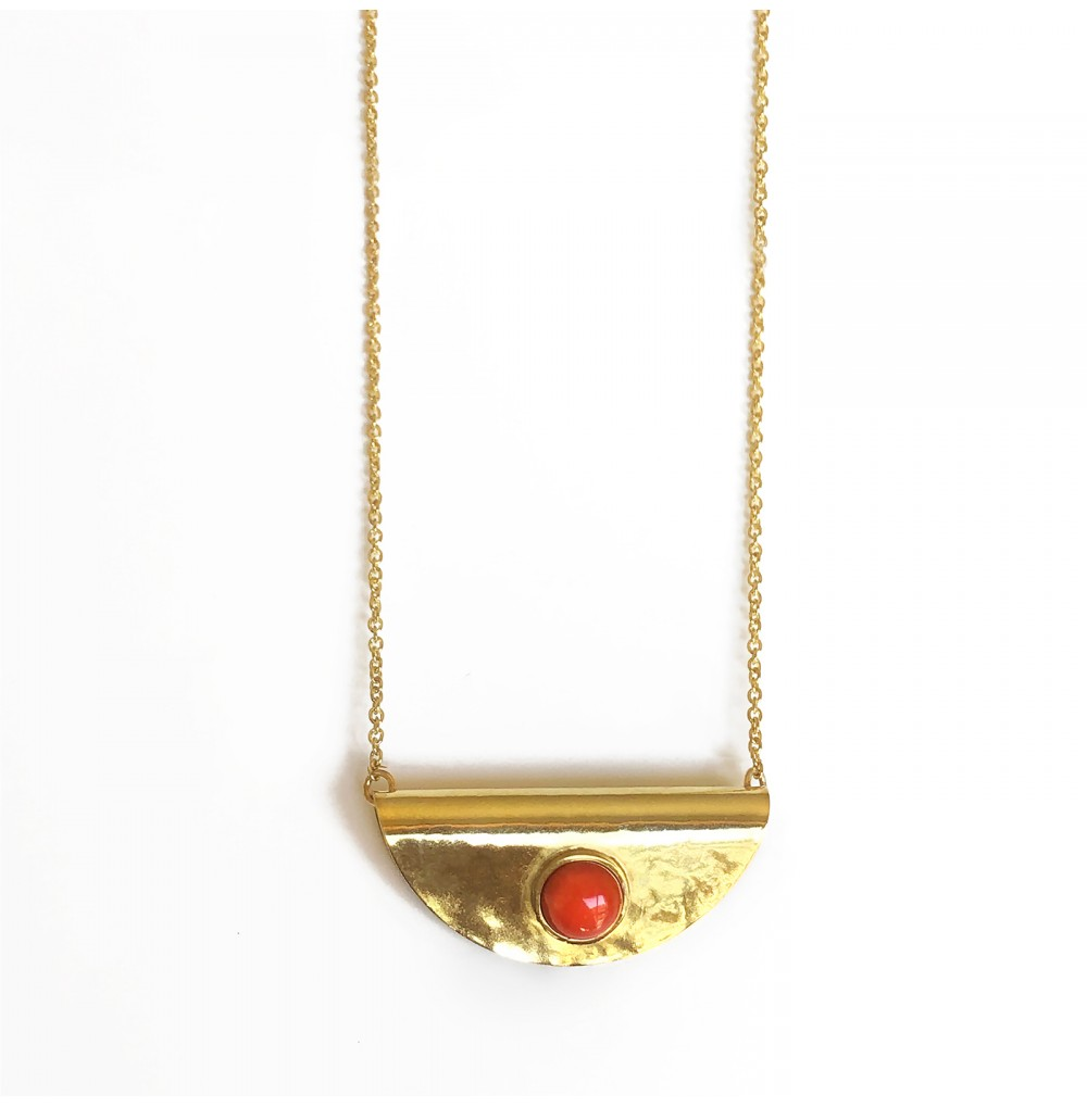 Boho necklace with coral stone