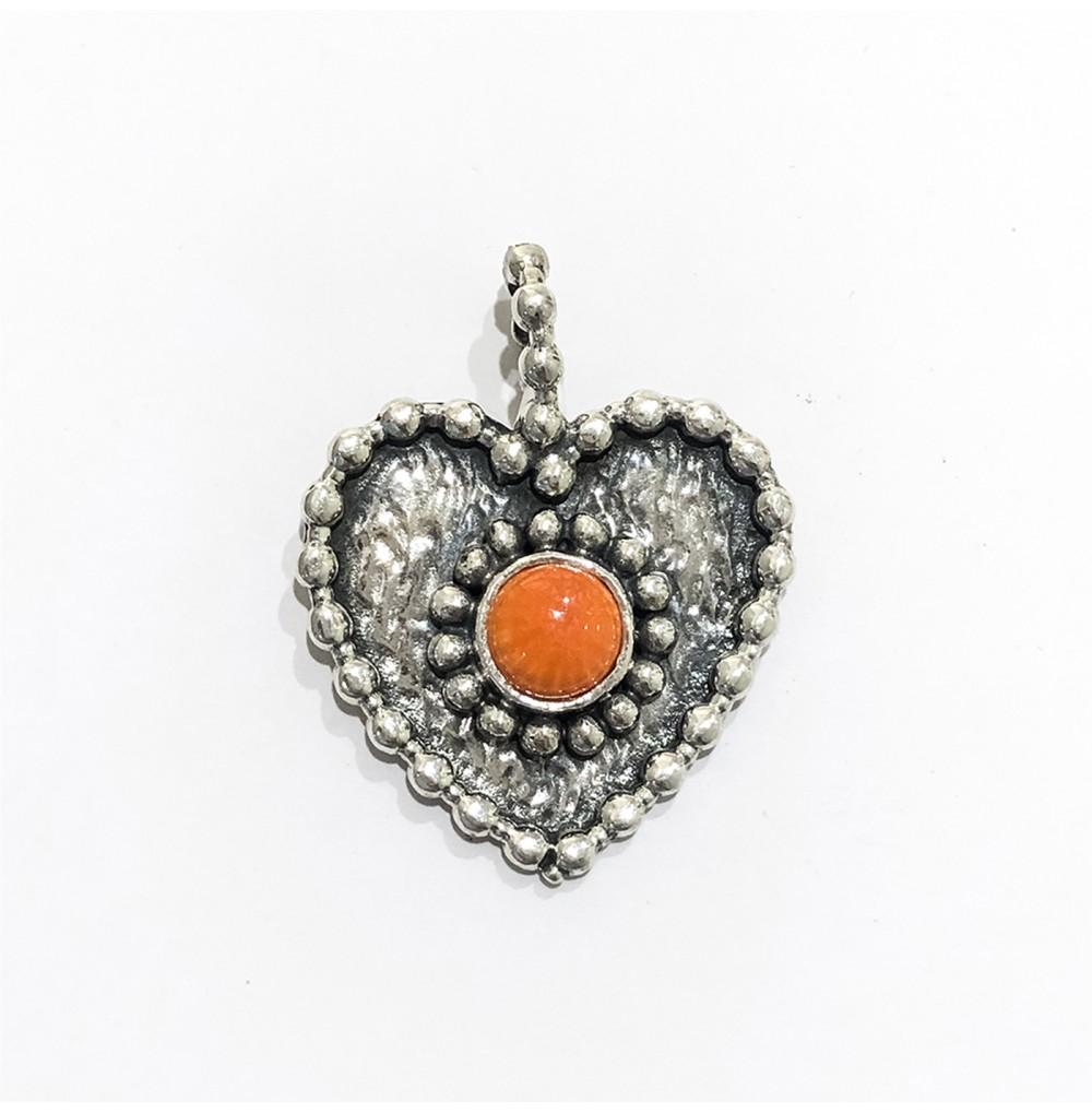 Medalha coração - Coral