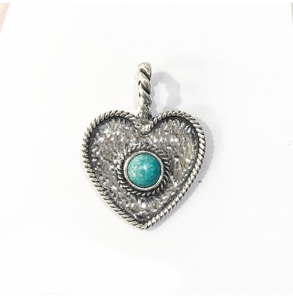 Medalha Coração - Amazonite